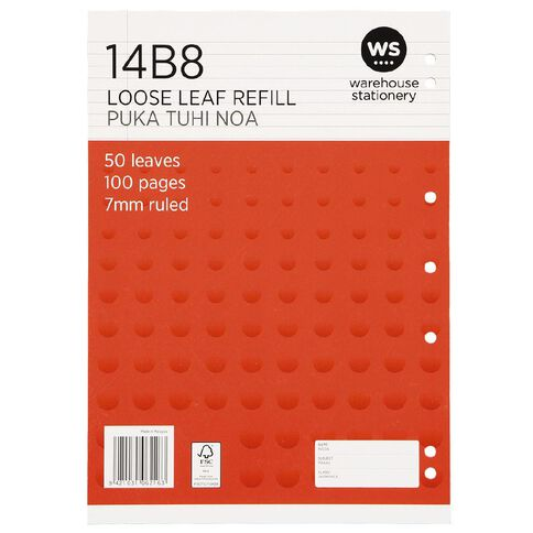 WS Pad Refill 14B8 7mm Ruled 50 Leaf Punched Red