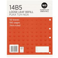 WS Pad Refill 14B5 7mm Ruled 50 Leaf Red
