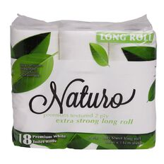 Naturo Toilet Tissue 2-Ply Long Roll 300 Sheets 18 Pack