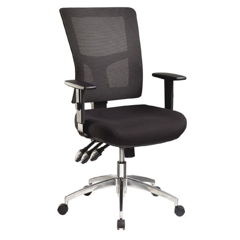 Jasper J Enduro Black Chair with Alloy base and Adjustable Arms Black