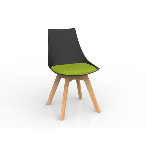 Luna Black Avacado Green Oak Base Chair Green