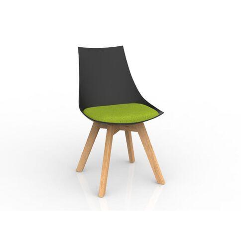 Luna Black Avacado Green Oak Base Chair Green