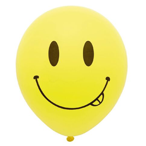Party Inc Balloons Printed Smiley Face 25cm 12 Pack