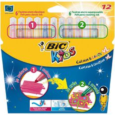 Bic Kids Colour & Create XL Felt Pens 12 Pack Multi-Coloured