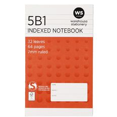 WS Notebook 5B1 Index 7mm 32 Leaf Red