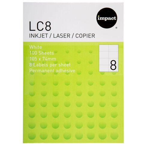 Impact Labels 100 Sheets A4/8 White