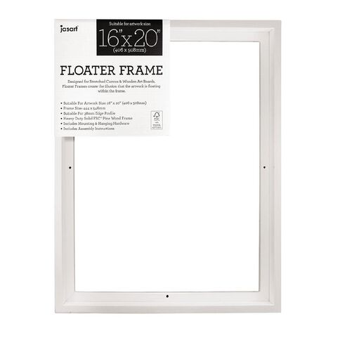 Jasart Floater Frame Thick Edge 16x20 Inches White