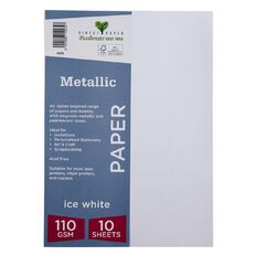 Direct Paper Metallic 110gsm 10 Pack Ice White A4