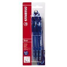 Stabilo Liner Ballpoint Pen  Card 3 Pack Blue