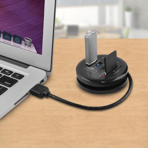 mbeat USB 3.0 3-Port Hub + Sd/Micro SD Card Reader Black