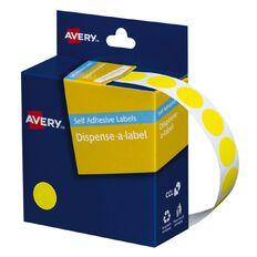 Avery Yellow Dispenser Dot Stickers 14mm diameter 1050 Labels