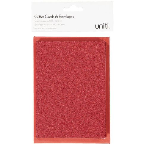 Uniti Christmas Cards & Envelopes Glitter Red 6 pack