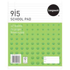 Impact School Pad 9I5 9mm Ruled 32 Leaf