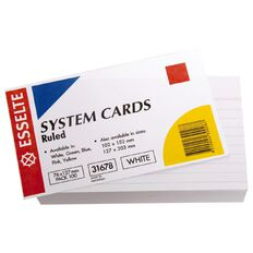 Esselte System Cards Lined 76mm x 127mm 100 Pack White