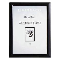 Living & Co Bevelled Certificate Frame Black A4