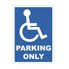 Impact Safety Sign Disabled Parking Only Blue&White Single Small