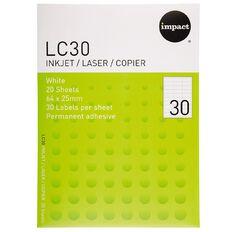 Impact Labels 20 Sheets A4/30 White
