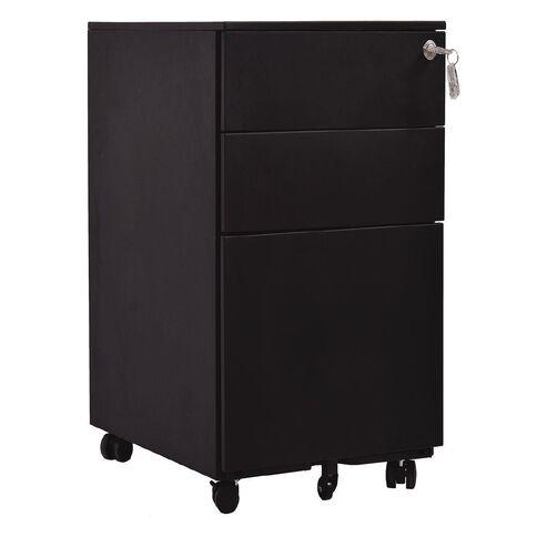 Jasper J Emerge 3 Drawer Slim Metal Mobile 310 x 472 x 610MM Black