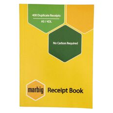 Marbig Receipt Book 4-Up 400R Duplicate Yellow A5