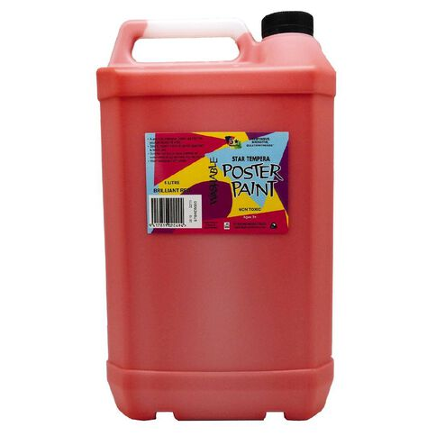 Fivestar Tempera Poster Paint Brilliant Red 5 Litre