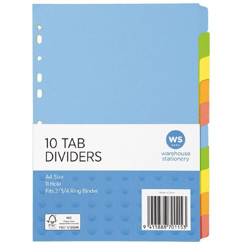 Impact Dividers Cardboard 10 Tab A4