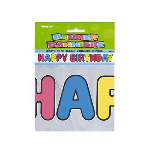 Unique Banner Happy Birthday Metallic Assorted