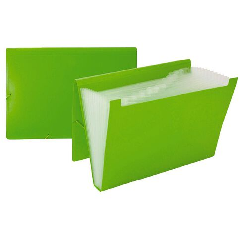 WS Foolscap Expanding File PP 12 Pocket Green