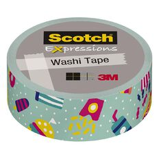 Scotch Washi Craft Tape 15mm x 10m Teal Junk Food