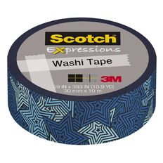 Scotch Washi Craft Tape 15mm x 10m Retro Blue Stars