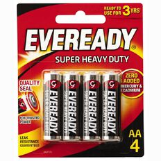 Eveready Super Heavy Duty Batteries AA 4 Pack