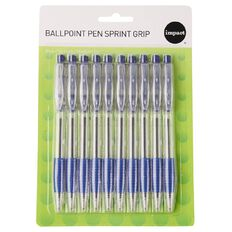 Impact Ball Pens Sprint Grip 10 Pack Blue
