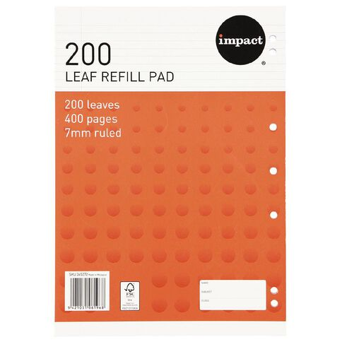 Impact Pad Refill 7mm Ruled Punched Orange 200L