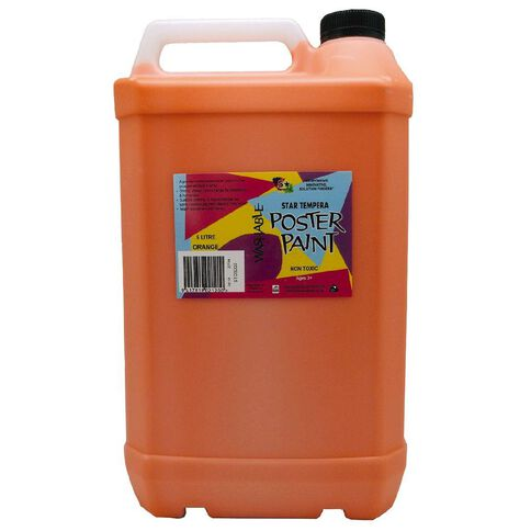 Fivestar Tempera Poster Paint Orange 5 Litre
