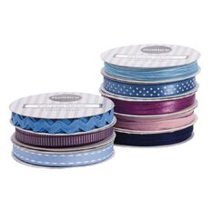 Rosie's Studio Everyday Ribbon Blue / Purple Assorted 3m
