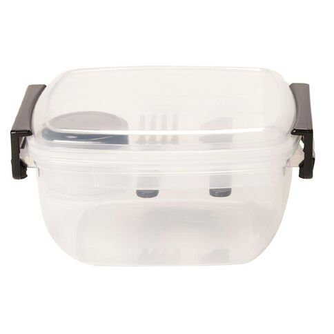 Living & Co Lunch Box with Utensils Black