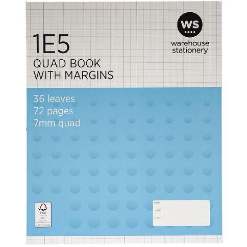 WS Exercise Book 1E5 7mm Quad 36 Leaf Plus Margin