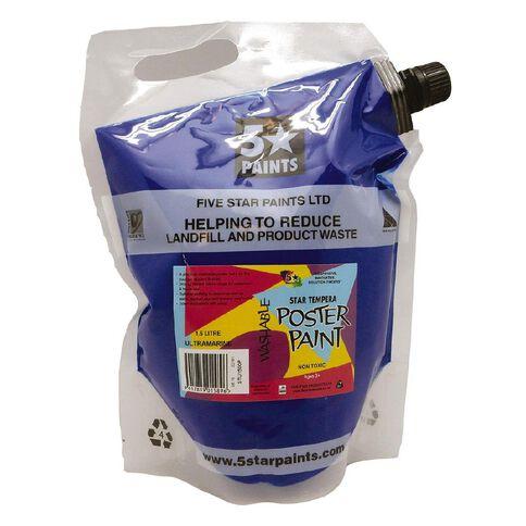Fivestar Tempera Poster Paint Ultramarine 1.5 litre Pouch
