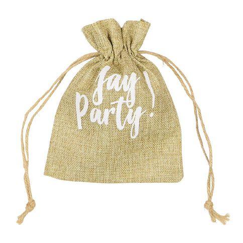Party Inc Hessian Drawstring Bag 15cm x 19cm