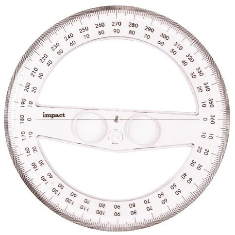 Impact Protractor 360 15cm Clear
