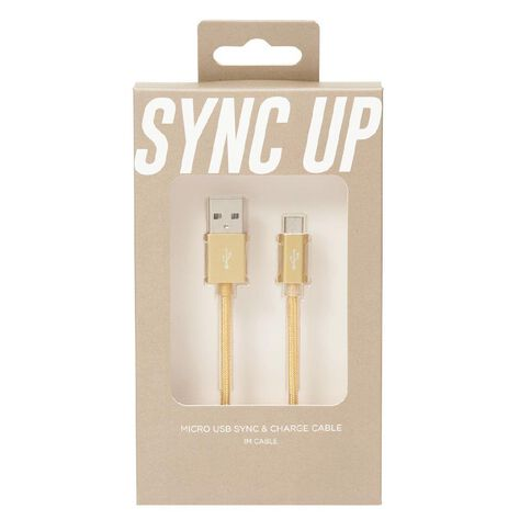 Micro USB Cable Braided 1m Midas Touch Gold