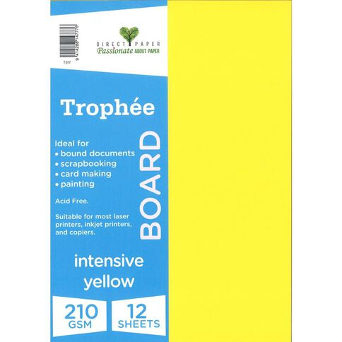 Trophee Board 210gsm 12 Pack Intensive Yellow A4