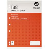 Impact Exercise Book 1B8 7mm Ruled 36 Leaf Punched Red