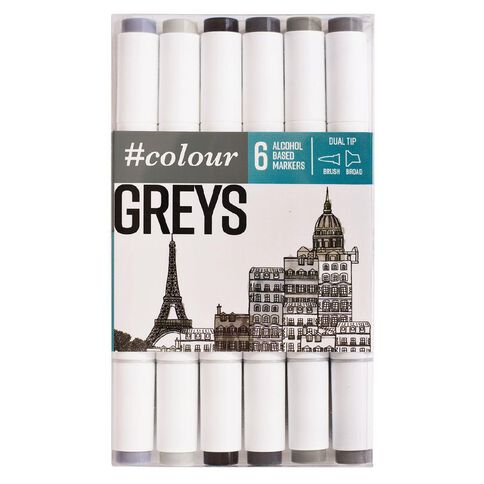 #colour Dual Ended Art Markers Grey 6 Pack