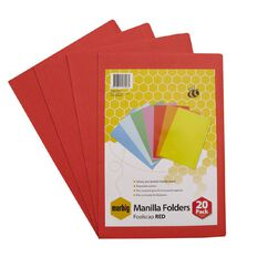 Marbig Manilla Folders Foolscap 20 Pack Red