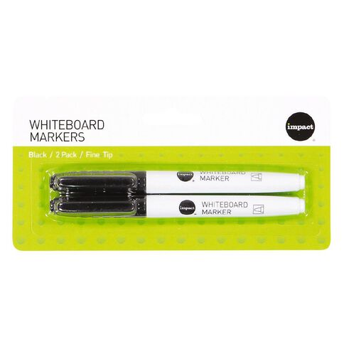 Impact Whiteboard Markers Fine 2 Pack Black