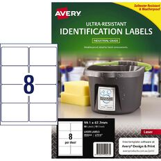 Avery Ultra-Resistant Outdoor Labels White 80 Labels