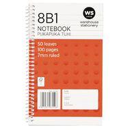 WS Notebook 8B1 7mm Ruled Spiral 50 Leaf Orange