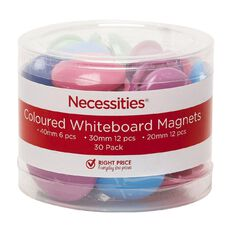 Necessities Brand Whiteboard Magnets Coloured 30 Piece