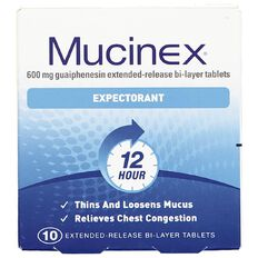 Mucinex Expectorant 12 Hour Tablets 10 Pack