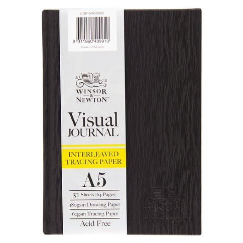 Winsor & Newton Visual Journal Interleaven 185gsm A5 32 Sheets Black